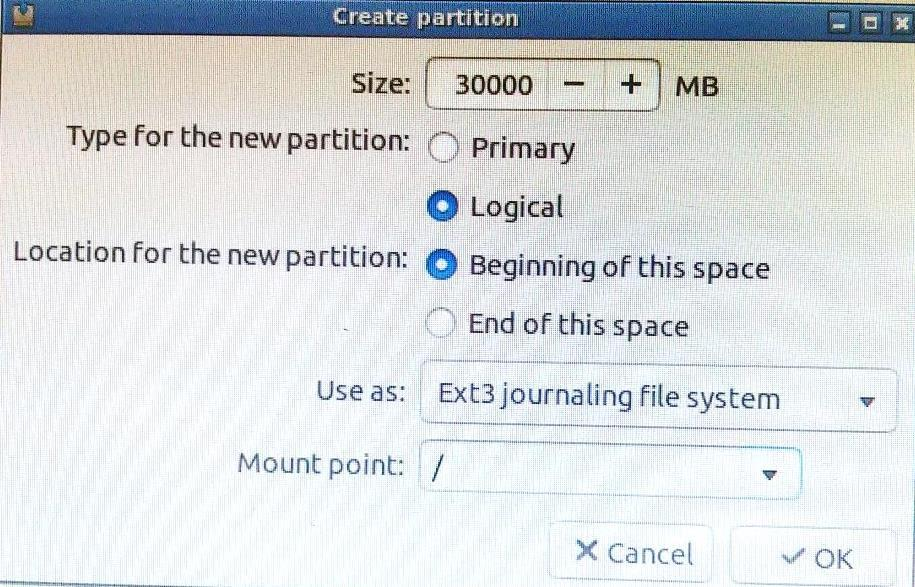 Partition Size Mount Point File System root 30000 MB / Ext3 journaling file system swap area 4000 MB Not applicable Not applicable home