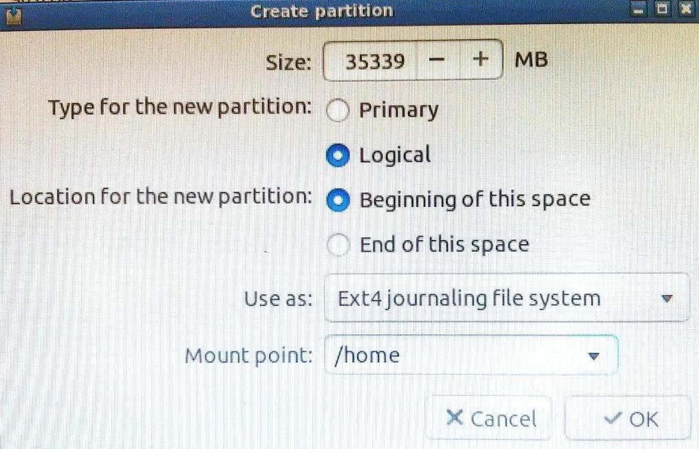 /home partition