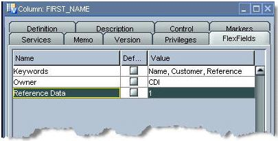 Figure 2: User-defined FlexFields in a column LEVERAGING METADATA Oracle Data Integrator is a metadata-based code generator.