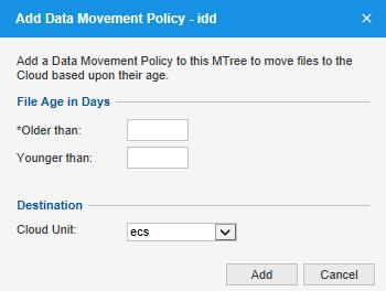 Configuring the Oracle RMAN Agent 2. In the top panel, select the MTree to which you want to add a data movement policy. 3. Click the Summary tab. 4. Under Data Movement Policy, click Add.