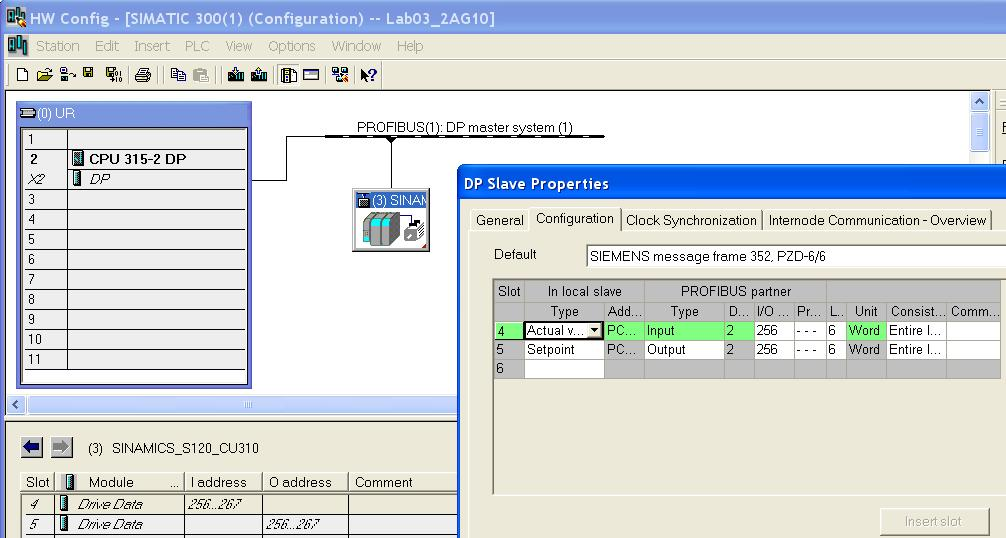 Drive ES Simatic interrogates the Hardware configuration and automatically identifies the PROFIBUS slave addresses and