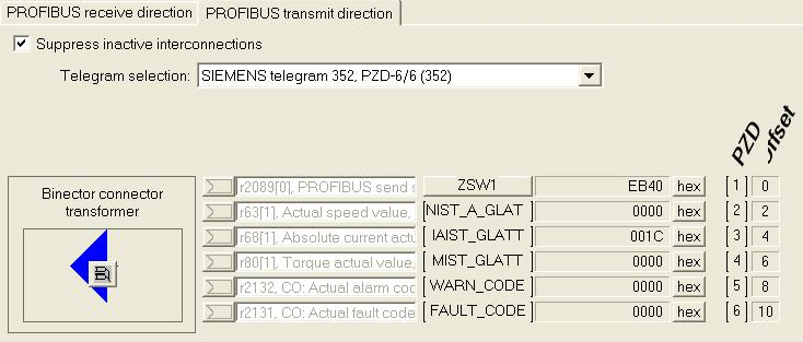 SIEMENS telegram 352, PZD-6/6 (352) PROFIBUS transmit direction ZSW1 PROFIBUS send status word, Status word 1 NIST_A Actual speed value, Smoothed with p0045