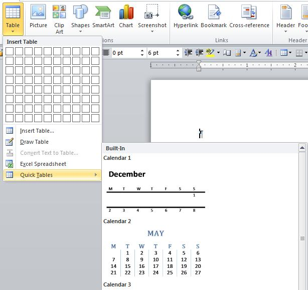 Insert or create a table In Microsoft Word, you can insert a table by in three ways: Choose from a gallery of preformatted table templates.