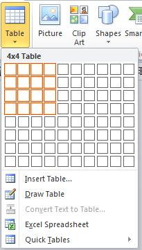 Use table templates (Quick Tables) You can use table templates to insert a table that is based on a gallery of preformatted tables.