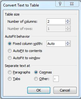 When you use this setting, if you add a column before you add text, the size of the columns automatically adjusts to keep the table within the margins.