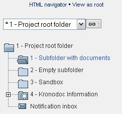 "10 Selecting a folder To select a folder, click its name or icon. The selected folder has a highlighted name and an open folder icon (see ""Subfolder with documents"" in picture above)."