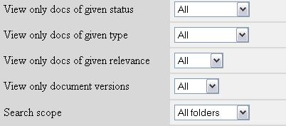 58 16.3.5 Setting Default Document Filters The default document filters are applied every time you enter the project or reset the applied filters.