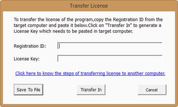 3. Copy the Registration ID displayed on the Target Computer in the field of Registration ID on the Source Computer. 4. To get your License Key, click Transfer In button on Source Computer.