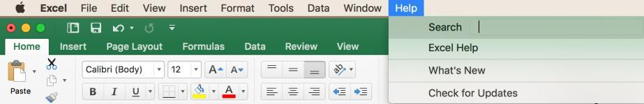 Online Help Use the Help Tab for quick answers to Excel 2016 questions. Click on the Help Tab in the Menu Bar.