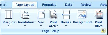 In the Workbook Views group, click Normal. Use the Page Setup dialog 1. The Page Layout tab of the Ribbon and the Page Setup group are shown in the screen picture at the right. 2.