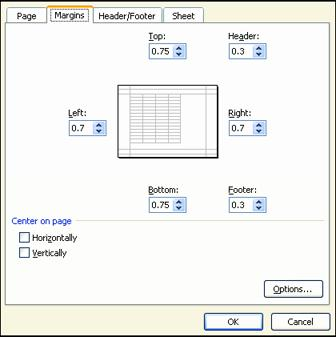 Do Page Margins 1. Click on the Margins tab of the Page Setup dialog. 2. The Margins dialog is illustrated at the right. 3. Notice the margin settings. The top and bottom margins are set at 0.