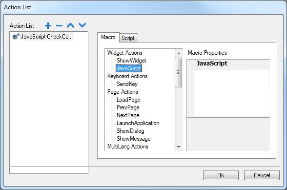 The software automatically lists an action called Javascript-CheckComms. The name for the Java script function is inherited automatically from the name we gave the scheduled task.