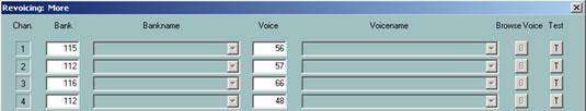 "Selecting a voice by bank- and voicenumber A banknumber is defined by the formula ""banknumber = 128*MSB+LSB"" with the bank select values MSB and LSB of the voice list of the keyboard manuals"