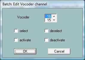 Select, deselect, activate or deactivate a Vocoder channel The function Vocal Harmony (modus Vocoder) is controlled not only by the notes of a special MIDI channel (the VH channel): It is selected if