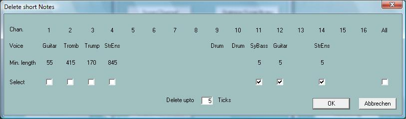 "Quickstart Button ""Extras"" (Shortcut E or e) - ""Quickstart"" With Quickstart, the initial events of a MIDI file are executed at the moment of loading the file."