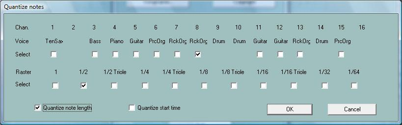 "Quantize Notes Button ""Extras"" (Shortcut E or e) - ""Quantize Notes"" With this function the notes of a MIDI channel are adjusted at a uniform timing raster."