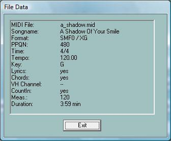 "4. Converting and Optimizing MIDI files Protocol of MIDI file characteristics With the button ""MIDI file Data"" we get a protocol of global attributes of MIDI files."