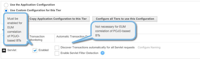 3. In the Transaction Detection tab, make sure the Transaction Monitoring option for Servlets is Enabled.