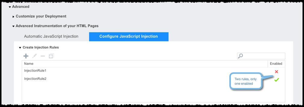 Click Configuration-> Web JavaScript Instrumentation->Advanced->Advanced Instrumentation of your HTML Pages->Configure JavaScript Injection to see the list of rules and their enabled status.
