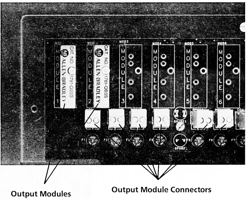 Chapter 2 Description of Hardware Output Modules Two DC output modules (Catalog No. 1781-OB5S) are provided with the decoder. You can add up to six more AC or DC output modules for a total of eight.