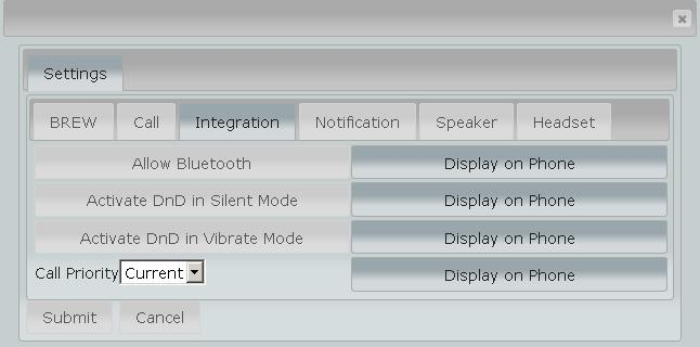Integration Settings Allow Bluetooth Activate DnD in Silent Mode Activate DnD in Vibrate Mode Call Priority When enabled allow the use of Bluetooth devices within ESChat When enabled if the handset