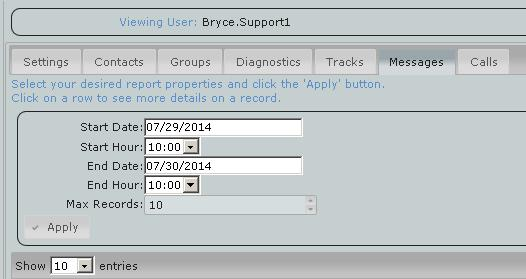 Once either tab is selected the option box will open just below the tab, set your date/time range and