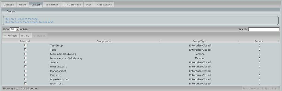 members. 4.1 Create a Group To create a Group, click on the Add button at the top of the Group list.