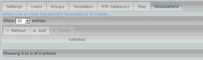 6 RTP Gateways, Map, Associations Setting is reserved for Customers using an LMR interface. Changes are NOT RECOMMENDED.