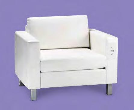 "Powered (white vinyl) 37""L 31""D 33""H Powered Seating Empower attendees at your"