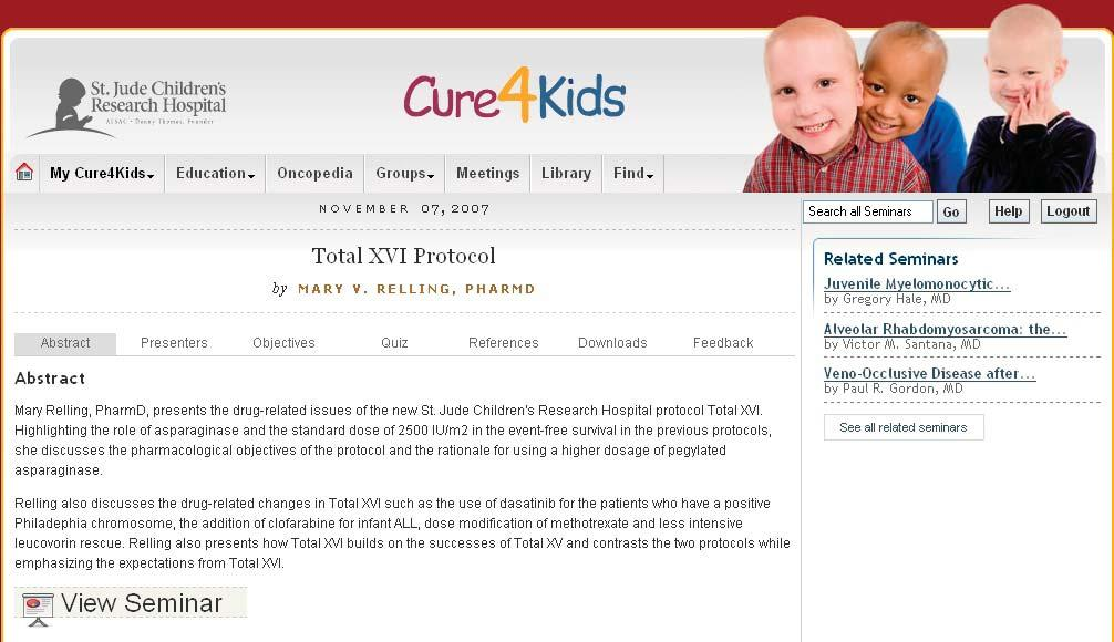 1. Online seminars The majority of the seminars (Figure 1) on the Cure4Kids website were presented at St.