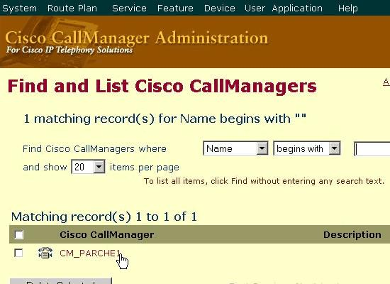 2. Select either your Cisco CallManager Server name or IP address. 3. Click Reset Devices.