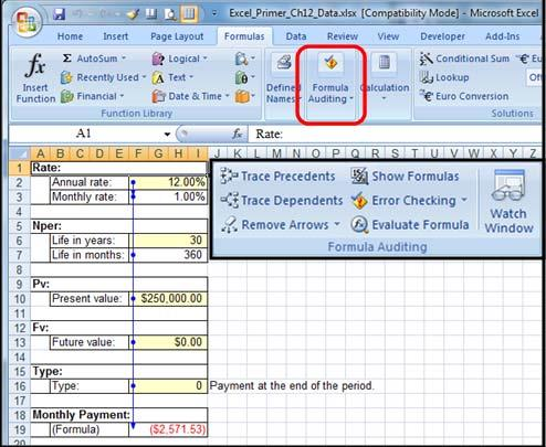 Chapter 12 ANSWERS Chapter Outline Formula Auditing Formatting Cells Merge Cells Formatting Within A Cell Goal Seek Null Value Or And If Statement Formula Auditing Utilize the Excel_Primer_Ch12_Data.