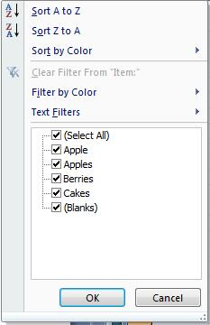 When filters are imposed on a worksheet, Excel puts an additional button on the top of each column with a filter.