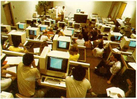 Figure 1-5: Electronic Classroom at Brown, a specially built lecture hall housing 60 powerful graphics-based workstations to teach the learning of algorithms using BALSA.