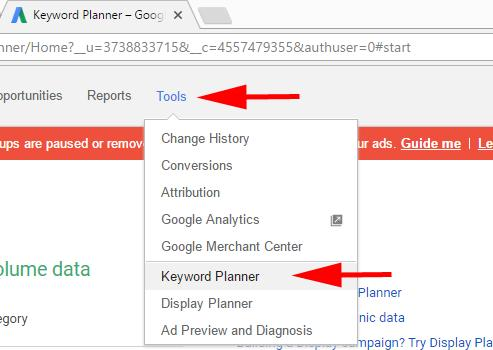 You ll arrive at the keyword planner tool, and you ll be prompted to enter your keyword phrase.