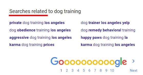 I m going to use the keyword dog training for this example. In the next image, you ll see that Google has provided some excellent keywords that I need to write down.