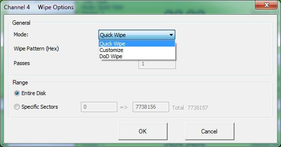 4 Set wipe parameters. On each channel, click to display the Wipe Options dialog box, specify wipe settings, and then click OK.