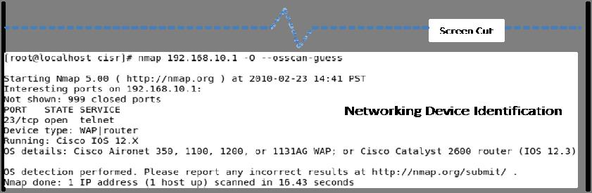 Figure 12. Detailed Identification Information Provided by Nmap The proposed approach provides flexibility in the employment of network exploration tools (i.e. users can select other network exploration tools and/or techniques besides Nmap).