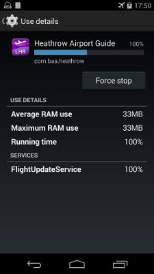 procstats Zoom in on second app: Contains a service FlightUpdateService Has been running