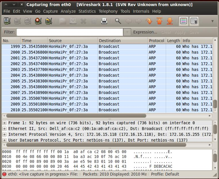 Chapter 2 Literature Review Figure 2-2 Wireshark Analyzer snapshot The figure above shows the network traffic via a protocol analyzer known as Wireshark.