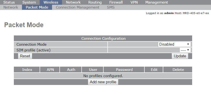 Adding a Network Connection Profile To access the wireless packet mode settings click on the Packet mode'' tab. The screen shown in Figure 6 will be displayed.