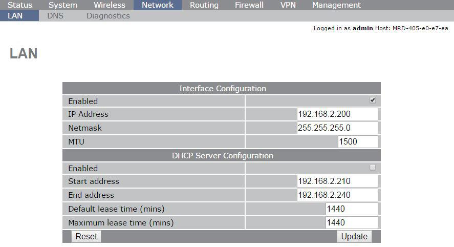 Configure the LAN interface and DHCP Server To access the configuration page for the LAN interface and DHCP Server, select Interfaces from the top level menu.