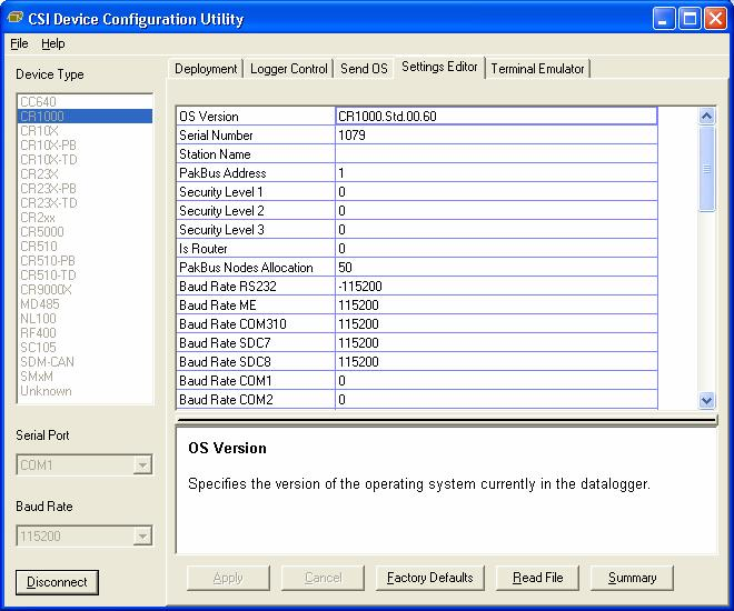 OV3.5 Settings Editor Tab The CR1000 has a number of properties, referred to as settings, some of which are specific to the PakBus protocol.
