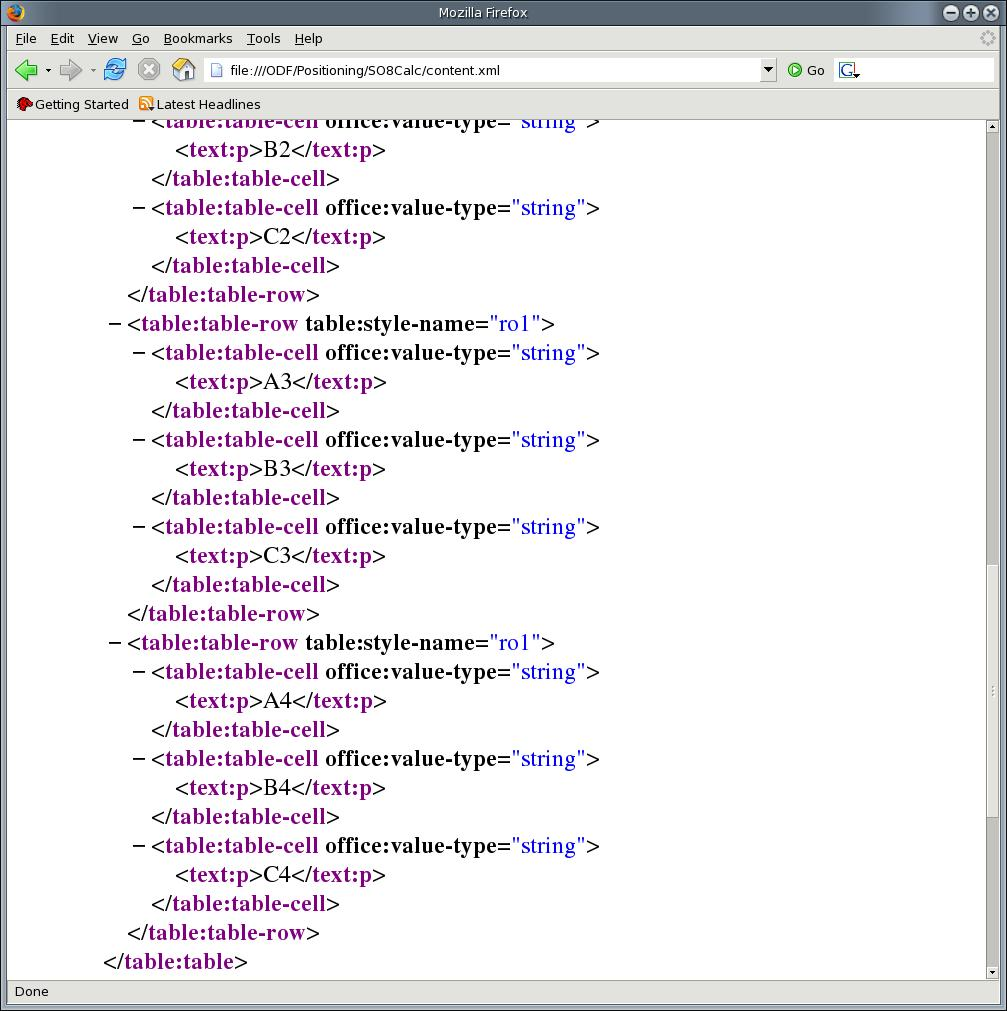 documents simple. Picture 4 shows the content.xml file with a table definition of a text document. Picture 4: content.