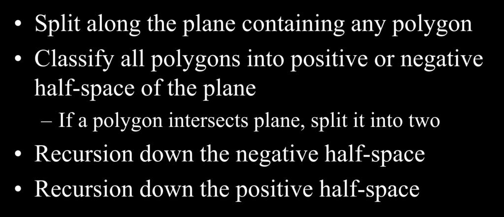 Polygons: BSP Tree Construction Split along the plane containing any polygon Classify all polygons into positive or negative half-space