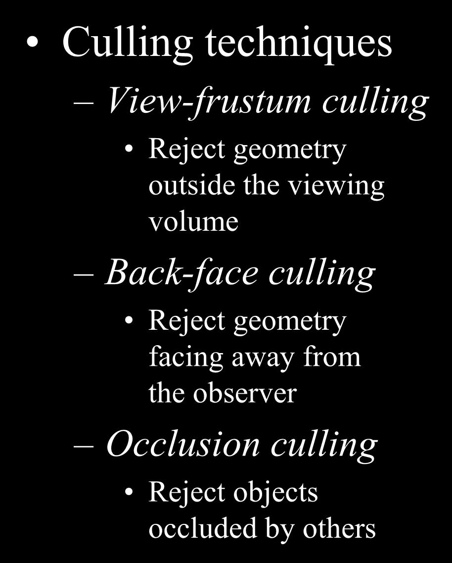 Visibility Culling Culling techniques View-frustum