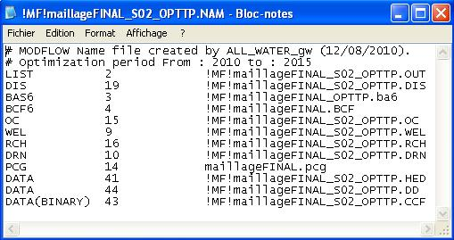 ALL_WATER_gw will read all the MODFLOW files and modify them according to the optimization period.