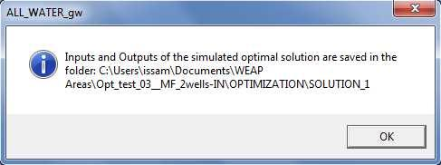 To perform this step, it is required to enter, by input box, the ID of the optimization scenario in WEAP Area: Figure 39: Input box to enter the ID of the optimization scenario.