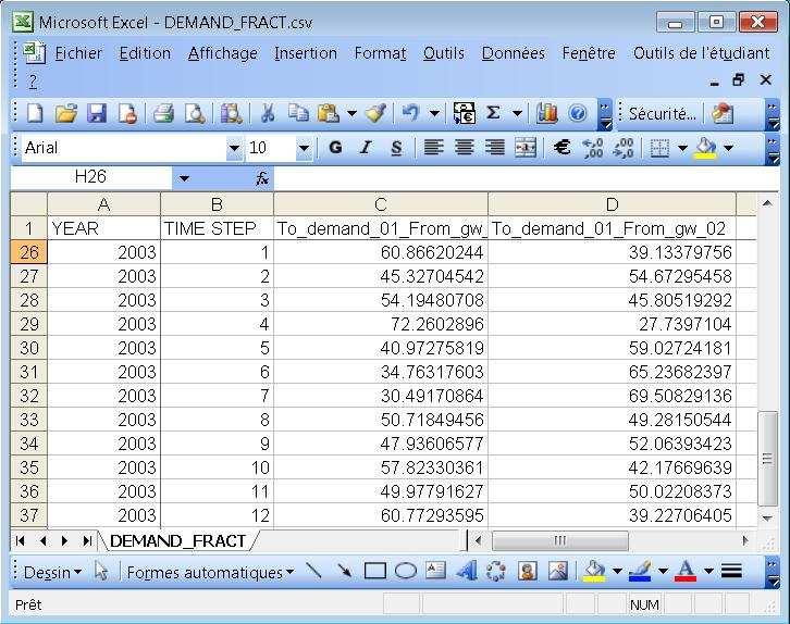 Figure 47: Example of the DEMAND_FRACT.csv output file. Note: The columns YEAR and TIME STEP, in the DEMAND_FRACT.
