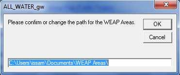 If the tool is used the first time, the user has to select the WEAP Area by one of the two options.